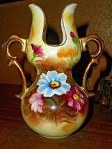 """Vintage Enesco Floral Double Handle Pitcher Vase U Shape Cut Out Top 6"""" ... - $16.82"""