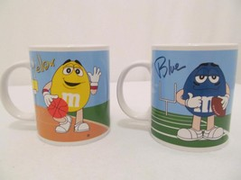 M&M Sports Mugs (2) - Yellow Basketball, Blue Football, Green Baseball, Red Golf - $13.00
