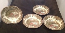"Johnson Bro FRIENDLY VILLAGE/Covered Bridge Set of 4-6 1/4"" Square Bowls... - $23.22"