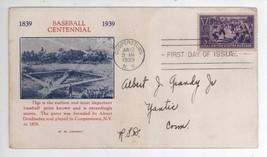 1939 Baseball Centennial Scott #855 W M Grandy First Day Cover! Cooperst... - $11.87