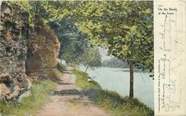 DB Postcard IA H238 On the Banks of the Iowa River Curt Teich Cancel 1908 Man - $8.00