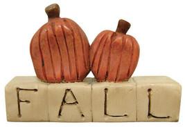 Country FALL RESIN BLOCK Pumpkin Sign Autumn Thanksgiving Farmhouse Shel... - $18.99