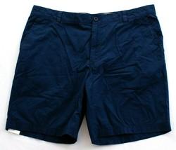 Izod Saltwater Navy Blue Seaport Poplin Flat Front Cotton Shorts Men's NWT - $37.49