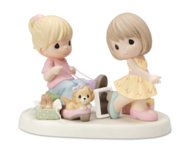 Sisters Shopping For Shoes Figurine Porcelain Family Home Decor Hand Cra... - $66.18