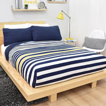 1 Piece Blue Striped Malvinas Reversible Light Comforter Set - £23.13 GBP+