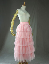 PINK TIERED Tulle Skirt Lady High Waist Tiered Tulle Party Skirt Princess Outfit image 5