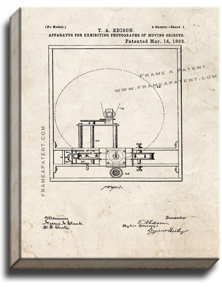 Primary image for Edison Motion Picture Camera Patent Print Old Look on Canvas
