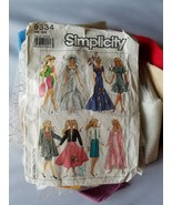 Simplicity Barbie Doll Clothing Pattern Vintage 9334 w/Pre-Cut Fabric In... - $26.96