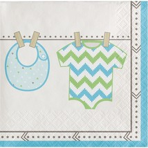 Bundle of Joy Boy Blue Beverage Napkins 16 Ct Baby Shower - $3.29