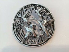 Vintage Sarah Coventry Silver Tone Flying Geese Large Round Pendant Brooch - $19.75