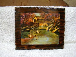 Glossy Wood Country Scene w/ Flying Geese, Wall Hanging, Collectible Hom... - $14.95
