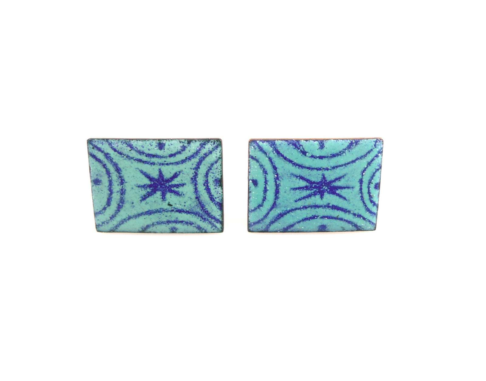 Primary image for BIG Vintage 1950s 60s Artisan Handmade Copper Enamel Abstract Modernist CUFFLINK