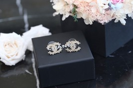 Authentic Chanel 2019 Classic CC Logo Crystal Gold Stud Earrings  image 4