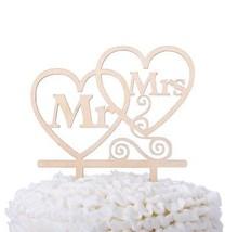 Ella Celebration Mr And Mrs Wooden Wedding Cake Topper, Rustic Wood Hea... - $16.11
