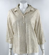 Chicos No Iron Top Size XL / 3 Beige Tan Leopard Animal Print Button Up ... - $23.76