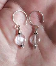 Handmade Boho Sterling Silver Pink Amethyst Earrings - £7.99 GBP