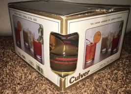 4 Vintage Culver YULE HORN Christmas 4 Holly Plaid Gold With Boxes - $34.65
