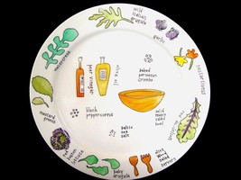 "4 Ursula Dodge Large Heavy Salad Days Herbal Theme 9"" Plates Cute New Htf Disc - $26.99"