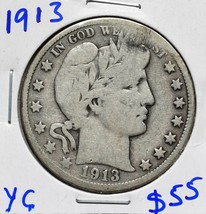 1913 Silver Barber Half Dollar 50¢ Coin Lot# A 609