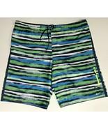 "Nike Mens Large 40"" Swim Trunks Board Shorts With Liner Green Blue Black... - $23.38"