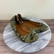 Lucky Brand Emmie Green Camo Fabric Ballet Flats Womens Size 7.5 - $29.95