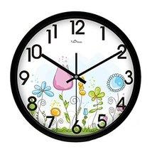 Creative Flowers Living Room Decorative Silent Round Wall Clocks,Black - $72.04 CAD