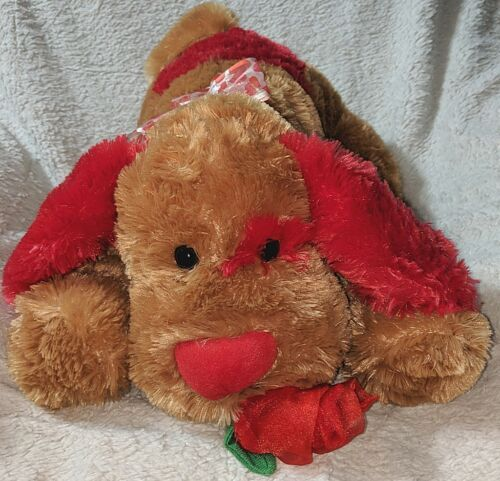 AFORDA Light Brown And Red Valentines Day Dog With A Rose In Its Mouth