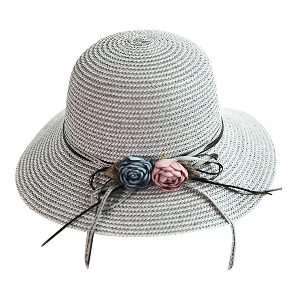 Primary image for Straw Hat Summer Ladies Women Casual Solid Wide Brimmed Floppy Foldable Straw Be
