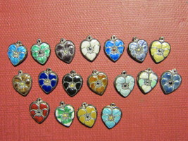 Vintage Sterling silver enameled puffy heart charms-18 -rainbow of colors - $525.00