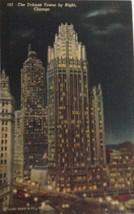 1930s Postcard Curt Teich Tribune Tower By Night Chicago Illinois Postmark 1948 - $10.84