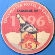 $5 Casino Chip, Edgewater, Laughlin, NV. New Year 1996. O17. - $5.95