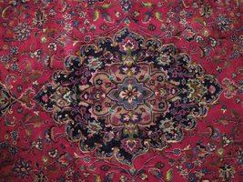 Red Wool Rug 10' x 12' Scarlet Vivid Original Traditional Persian Handmade Rug image 6