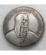 1954 Switzerland (Confederation) 5 Francs (5 Franken) Hobo Nickel emboss... - $15.00