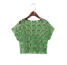 Soft Women Hollow Out Pullover Shawl Short Shirt Blouse, GREEN