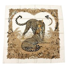 Hermes Carre 90 Scarf Stole Jungle Love Beige Silk 100% Animal Auth New Unused - $494.95
