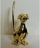 Heavy Dog Ring Holder Gold Tone with Crystal Eyes - $13.00