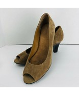 G H Bass Tan Suede Leather Peep Toe Classic Pumps Heels 8.5 M Shoes  - $49.49