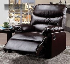 New Dark Brown Leather Recliner Lazy Chair Reclining Furniture Seat Home... - $319.99