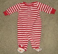 Carter's Santa's Helper Striped Christmas Footed Sleeper Pajamas 3M 3 Months - $6.79