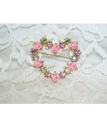 Heart Pin with Pink Roses and Pastel Gems by Avon - $23.36
