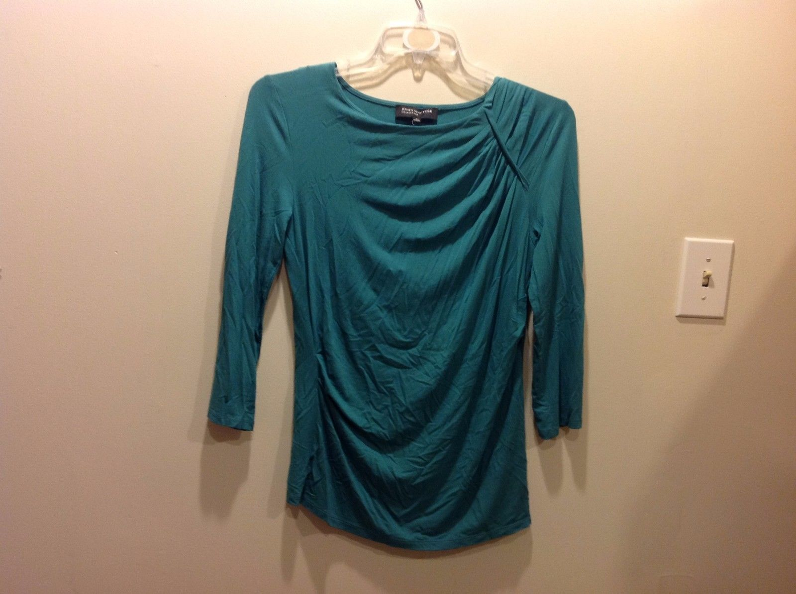 Jones New York Stretchy Teal Stylish Blouse Sz M