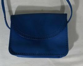 VP VINTAGE 1990's Barganza Blue Leather Crossbody Shoulder Bag Purse Clu... - $9.49