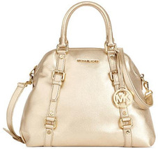 Michael Kors Bedford Bowling Medium Satchel Nwt Pale Gold Tote Bag - $139.99