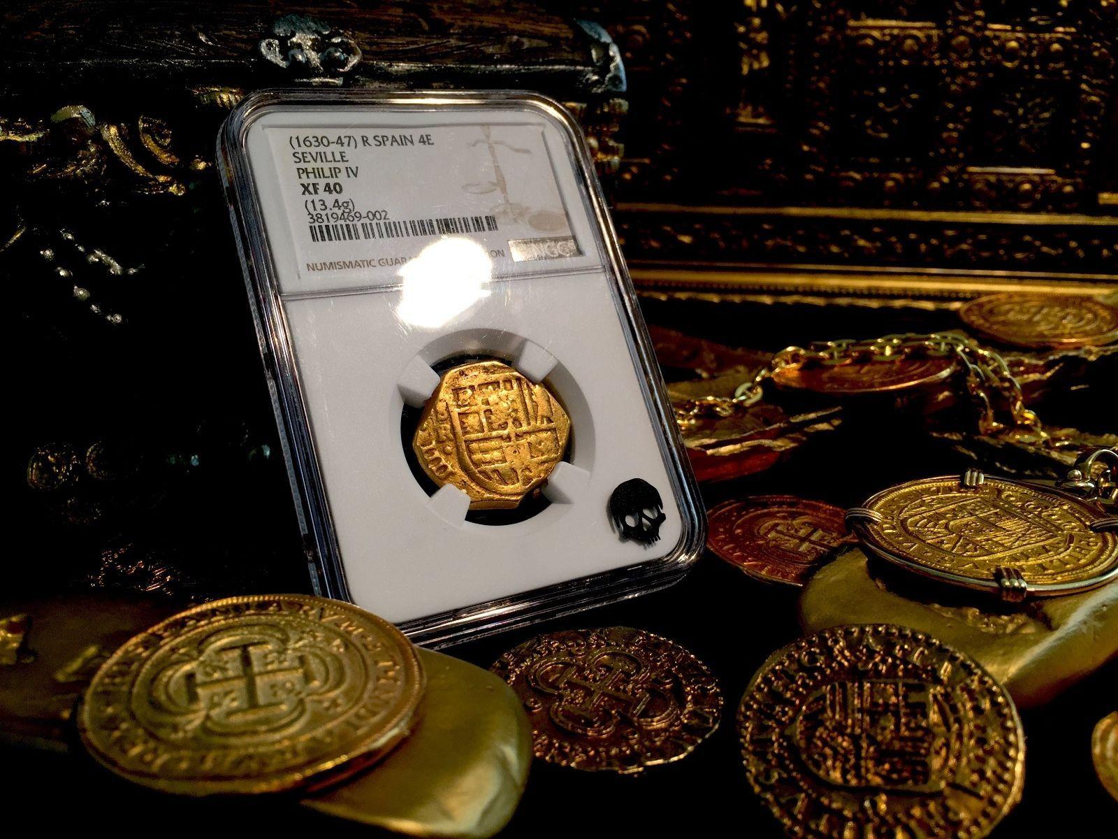 """SPAIN 1630 TREASURE COIN """"PIRATE ERA CROSS"""" GOLD 4 ESCUDOS  DOUBLOON COB NGC 40"""