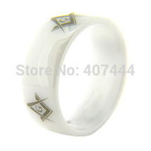 8MM WHITE DOME CERAMIC Masonic Master A MEN&WOMENS BEAUTY WEDDING RING - €21,75 EUR
