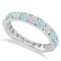 2.50 Ct Round Diamond & Aquarmarine 14K Gold Full Eternity Wedding Band ... - €716,88 EUR