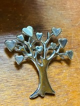 Estate Large Silvertone Tree with Heart Leaves Pin Brooch – 2 and 3/8th'... - $12.19