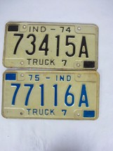 1974 1975 Indiana License Plate Lot Truck 7 - $23.22