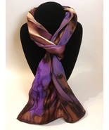 Hand Painted Silk Scarf Cream Chestnut Brown Plum Purple Rectangle Uniqu... - £40.98 GBP