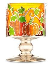 Bath & Body Works Orange Pumpkin Patch Vines Pedestal 3 Wick Large Candle Holder - $17.81